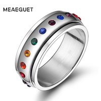 prens gelin yüzüğü toptan satış-Kadınlar Erkekler Paslanmaz Çelik Alyans Kadın Partisi Takı için Meaeguet Trendy Gökkuşağı Kristal Gay Pride Halkalar