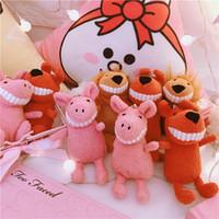 japanische mädchen anhänger großhandel-Japanische ins Harajuku niedlichen Schwein Anhänger rosa Mädchen Herz Plüsch Schlüssel Schnalle Tasche hängen Ferkelpuppe