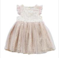 koreanische kleider rüschen großhandel-Einzelhandel Baby Mädchen Korean Pailletten Tüll Prinzessin Kleid Sommer Fliegenhülse Elegante Rüschen Tutu Fee Abendkleider Kinder Designer Kleidung Mädchen
