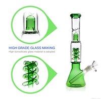 ingrosso olio lanterne di vetro-Lanterna verde a tema Perculator Waterpipe Bong tubo di vetro Gorgogliatore Super pesante 12 pollici Dab Rig New Oil Beaker Art Craft Capolavoro