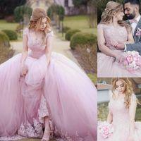schnürte dich zurück großhandel-2019 Pink Puffy Ballkleid Quinceanera Abendkleid Sweet 16 Lace Applique Perlen Lace Up Zurück Quinceanera Kleider Abend Party Pageant Kleider