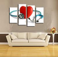 foto de parede vermelha para sala de estar venda por atacado-4 Pcs Estetoscópio Vermelho Coração Wall Art Imagem Moderna Decoração de Casa Sala de estar Ou Quarto Cópia Da Lona Pintura Retrato Da Parede