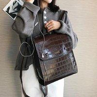 preppy style vintage kadın omuz çantası toptan satış-Kolej Kız Taş Omuz Çantası mochila Feminina için Vintage Pu Deri Kadınlar Sırt Çantası Preppy Stil Sırt çantaları Moda Okulu Çantası