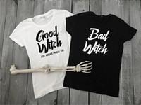 bons hauts pour les filles achat en gros de-Bonne sorcière mauvaise sorcière femmes tshirt meilleur ami Halloween coton chemises partie T-shirt Drôle filles tendance tops-J061