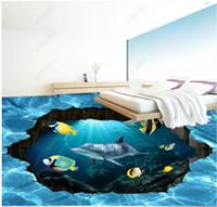 подводный дельфин оптовых-Custom photo wallpaper for walls 3 d flooring mural wallpapers Blue HD 3D underwater world dolphin floor painting Wall Stickers