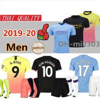 melhor camisa de futebol venda por atacado-Manchester city 19 20 MAHREZ camisas de futebol preto terceiro 2019 2020 De Bruyne KUN camisa de futebol AGUERO BERNARDO Camiseta MENDY WALKER man city maillot