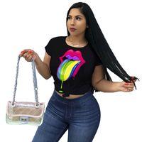ingrosso magliette a labbra-Colorful Lips Big Eye Stampa T Shirt Designer Donna Casual Estate Manica Corta Tshirt Colore Caramella Girocollo Felpa Fashin Top Tee C5603