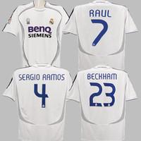 06 07 Real Madrid Soccer Jerseys Cannavaro Raul Ronaldo Marcelo Guti  Higuain Beckham Vintage 2006 2007 Real Madrid Football Shirts Camiseta c78b59ae0