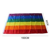drapeaux colorés achat en gros de-1000pcs Nouvelle Arc-En-Drapeau 3x5FT 90x150cm Lesbienne Gay Pride Bannière De Polyester Drapeau Polyester Coloré Arc-En-Drapeau Pour La Décoration
