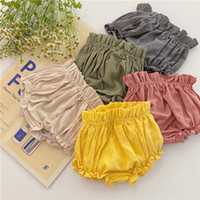 Wholesale baby clothes ruffle pants resale online - Quality INS Little Baby Girls PP Pants Pure Colors Ruffles Soft Waist Children Kids Girls Shorts Summer Clothing Outfits Summer Bloomers