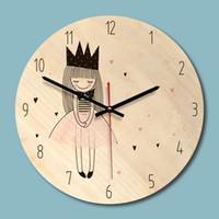 neue hölzerne wanduhren groihandel-Neue Holz Gedruckt Bild Wanduhr Schöne Mädchen Kreative Uhr Kinderzimmer Umwelt Stille Uhr Dropshipping