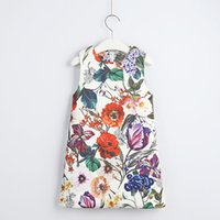 Wholesale korean kids clothing boutique resale online - 3 years baby girl Red Flower Printed Sleeveless A shaped Dress Korean Girl princess Dress kids boutiques skirts cheongsam children clothes