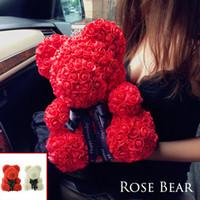 ingrosso orso di orsacchiotto di giorno del biglietto di s. valentino-2018 Drop Shipping 38cm Big Red Teddy Bear Rose Flower Regali di Natale artificiali per le donne Regalo di San Valentino