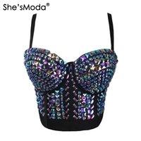 sutiã de diamantes venda por atacado-Ela é Moda Único Strass Gaga Bustier Pérolas Diamante Push Up Night Club Bralette Sutiã das Mulheres Colhidas Top Vest Plus SizeJ190424