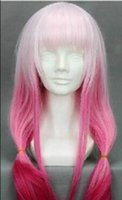 peluca de novia al por mayor-WIG envío gratis Fashion Party Guilty Crown suave Cosplay pelucas rosa degradado rampa novia peluca de pelo