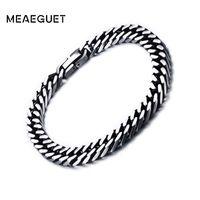large chaîne vintage achat en gros de-Meaeguet 8mm / 10.5mm Large Vintage En Acier Inoxydable Chaîne Lien Bracelet Hommes Bijoux Mat Fini Main Chaîne Bracelet Bracelet Bracelet