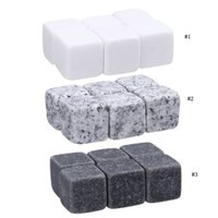 Wholesale drinks ice cubes resale online - 6pcs set Whiskey Stones Rock Set Ice Cube Sipping Alcohol Drinks Cooler Party Wedding Christmas Favor Gift Bar Accessories MMA2003