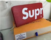 Wholesale mens long wallet brand for sale - Group buy hot sale X sup Long single zip wallet classic women and mens evening package clutch handbag new brand Check folder evening package wallet