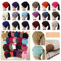 Wholesale knitted hats colors resale online - 29 Colors Women CC Ponytail Caps CC Knitted Beanie Fashion Girls Winter Warm Hat Back Hole Pony Tail Autumn Casual Beanies