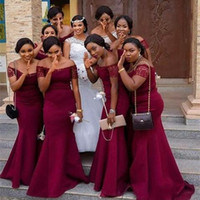 Wholesale dark purple satin girls dress for sale - Group buy 2020 African Girl Dark Red Off the Shoulder Lace Sleeves Mermaid Bridesmaid Dresses Custom Made Satin Maid Of Honor Gowns