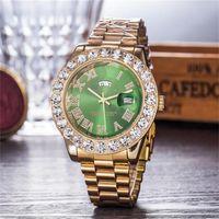 bracelets de calendriers achat en gros de-44mm De Luxe Double calendrier Cristal incrusté De Diamant Cadran Horloge Hommes Quartz Montres En Acier Inoxydable Boucle Pliante Montre Bracelet Hommes Montres