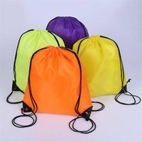 Wholesale draw string bags for sale - Group buy Solid color simplicit Draw Backpack Bags Canvas Pocket Softback Shoulders Draw String Shop CM emoticon School Bags Donuts Party Xmas