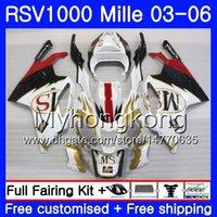 aprilia rsv weiße verkleidungen großhandel-Karosserie Für Aprilia RSV 1000R 1000 RV60 Mille RSV1000 R RR Weißgold 03 04 05 06 316HM.12 RSV1000RR RSV1000R 2003 2004 2005 Verkleidungen