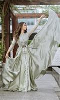 Wholesale champagne silk satin dresses for sale - Group buy Luxury Beaded Muslim Long Sleeves Evening Dresses Luxury Dubai Moroccan Kaftan Dress Silk Satin Formal Gown Evening Party Dresses