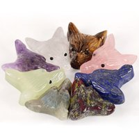 Wholesale carved stone necklaces for sale - Group buy 1pc New Cute Animal Wolf Head Design Statue Pendant Natural Stone Crystal Quartz Carved Necklace