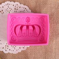 ingrosso muffa del fiore del silicone diy-Corona Rettangolo Gel Sapone Stampi Rosa Sun Flower Silice Cake Mold Food Commestibile Può Mettere Elettrodomestico Manuale DIY 7hpb1