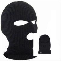 chapéu de balaclavas venda por atacado-htsport Preto Knit 3 Hole Ski Máscara BALACLAVA Hat face Escudo Beanie Cap Inverno Neve Quente 2018 moda verão