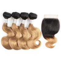 27 extensiones de cabello humano de color al por mayor-1B 27 Ombre Body Wave Hair Bundles con cierre 50g / Bundle 10-12 pulgadas Short Bob Hair 4 Bundles Extensiones peruanas de cabello humano Remy