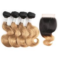 cheveux brésiliens achat en gros de-1B27 faisceaux de cheveux blonds avec fermeture brésilienne vague de corps 50g / paquet 10 12 pouces Bob cheveux courts Remy extensions de cheveux humains