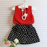 gilet rouge pour les filles achat en gros de-Vêtements pour filles Vêtements en mousseline de soie rouges Dot jupe noire Costumes pour enfants pour 2 3 4 5 6 Costume d'été fille Casual enfant en bas âge