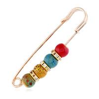 ingrosso spille perle-nuovo modo colorato perline di cristallo spilla di strass gioielli risvolto sciarpa fibbia fibbia spille per le donne CY220