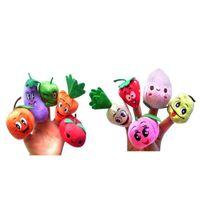 ручные куклы наборы оптовых-10Pcs Cartoon Vegetable Fruit Dolls Finger Puppets Set Mini Plush Baby Boys Girls Story Telling Hand Cloth Doll Educational Toys