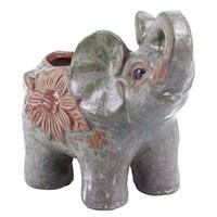 Wholesale ceramic planter pots resale online - Ceramic Mini Elephant Cacti Succulent Plant Pot Flower Planter Garden Home Decor