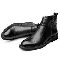 koreanische markenschuhe großhandel-Koreanische Markendesigner Männer Casual Kuh Lederstiefel Frühling Herbst Stiefelette Brogue Botas Mann Ochsen Schuhe Zapatos männlich