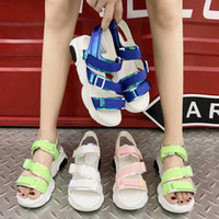 Wholesale creepers sandals for sale - Group buy Sports Sandals Ladies Platform Shoes Woman Casual Shoes Pu Breathable Slip On Shoes Thick Bottom Heel Creepers XWZ5799