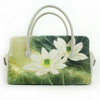 ingrosso stampe a sacco-Non increspare le borse da donna originali esportate in borse di tela giapponesi nuove borse di moda National Wind in loto stampato