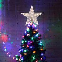 освещенный рождественский цилиндр оптовых-Светодиодный свет вверх Рождественская елка Топпер Звезда Рождественская елка Звезда орнамент Estrelinhas Adornos де Навидад Ева украшения