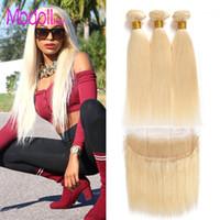 Wholesale platinum blonde bundles resale online - 10a grade Blonde Bundles With Frontal Pre Plucked Straight raw virgin indian hair Honey Platinum Blonde Bundles With Closure Remy Hair