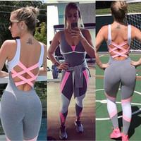 frauen trainieren kleidung großhandel-Frauen Übung Fitness Kleidung Bodybuilding Slim Fit Yoga Trainingsanzug V-ausschnitt Einteiliges Set Sportwear Gym Anzüge