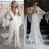 Wholesale dresses bell sleeves resale online - 2020 New Bohemian Beach Wedding Dresses V Neck Bell Long Sleeve Lace Open Backless Boho Bridal Gowns Wedding Dress