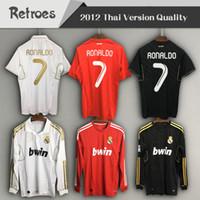 ce29f8336 2011 2012 Real Madrid retro soccer jersey 11 12 Real madrid home  7 RONALDO  KAKA BENZEMA OZIL Long sleeve away classic football shirt