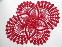 crochê de mesa artesanal venda por atacado-1 PCS Mão Crochet doily, Red, oval doilies, rendas, decoração para casa, decoração de mesa, handmade 17 polegadas (43 cm) por 13 polegadas (33 cm)