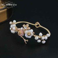 ingrosso guscio di perle barocco-Glseevo naturale acqua dolce barocco perla braccialetto per le donne Shell fiore bracciali braccialetto gioielleria raffinata Bracciali Gb0051 J 190511