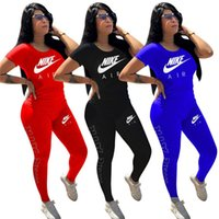 Wholesale necked yoga resale online - Brand Women Spring Summer Two Piece Set Short Sleeve T shirt Pants Letter Sports Suit Solid Color Outfits Crew Neck Jogging Suit
