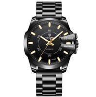 мужские часы с вольфрамовым сапфиром оптовых-Качество новый бренд автоматические мужские наручные часы черный циферблат синий кожа мода мужские часы сапфир часы швейцарский вольфрам