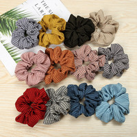 Wholesale black gray braiding hair for sale - Group buy Free DHL Floral Flamingo Solid Houndstooth Polka Dot Women Hair Tie Accesorios Scrunchie Ponytail Hair Holder Rope scrunchy Hair band